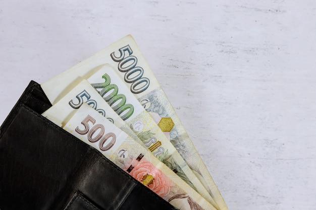 Banknoten von korun in brieftasche