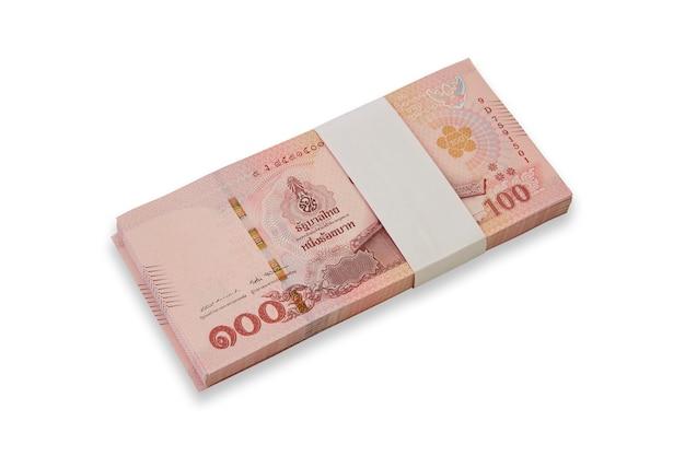 Banknoten von thailand auf weißem hintergrund