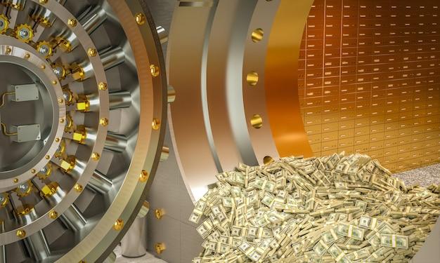 Banktresor, aus dem bündel von dollars herauskommen. 3d-rendering