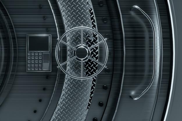 Banktresortür, großer safe, robustes metall. das konzept der bankeinlagen, einlagen, zellen, guter schutz der ersparnisse. kopierraum, 3d-illustration, 3d-rendering.