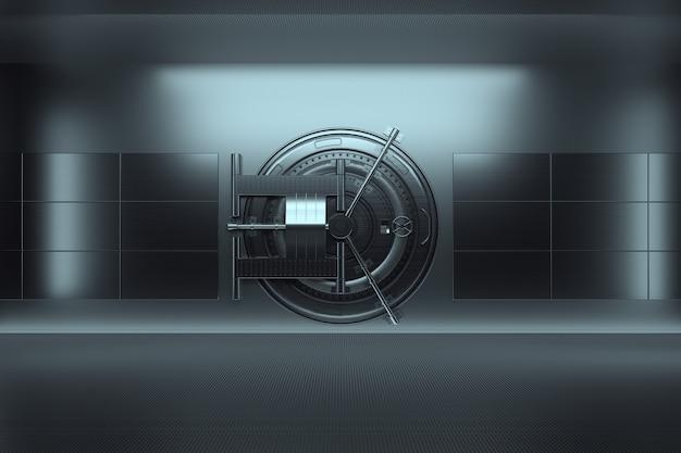 Banktresortür, großer safe, robustes metall. das konzept der bankeinlagen, einlagen, zellen, guter schutz der ersparnisse. kopierraum, 3d-illustration, 3d-rendering. Premium Fotos