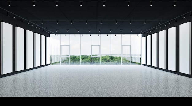 Banner an der wand, leeres modernes interieur 3 d rendering