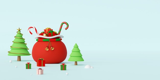 Banner der weihnachtstasche voller weihnachtsgeschenke 3d-rendering