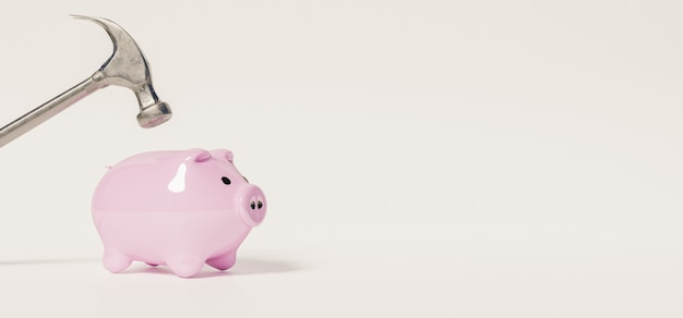 Banner des kleinen rosa sparschweins mit einem hammer oben, der es auf weißer oberfläche brechen wird