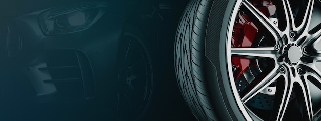 Banner für auto-rad-geschäft. 3d-rendering und illustration. rad schwarzer hintergrund.