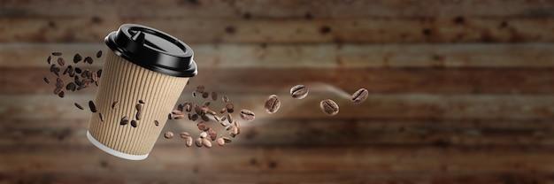 Banner für ein café. kaffeetasse mit kaffeebohnen auf einem hölzernen hintergrund mit kaffeebohnen. einweg-heißgetränkebecher aus weißem papier mit schwarzem deckel und kombi-hülle aus kraftpapier. 3d-rendering.