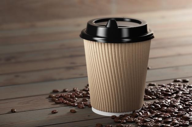 Banner für ein café. kaffeetasse mit kaffeebohnen auf holztisch einweg-kaffeetasse aus weißem papier mit schwarzem deckel und kombihülse aus kraftpapier. 3d-rendering.