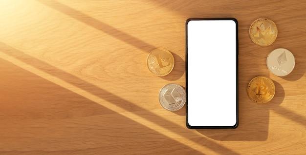 Banner für kryptowährungs-werbebanner mit nachgebildetem telefonbildschirm, bitcoin, ethereum und kopienraum auf holzhintergrund.