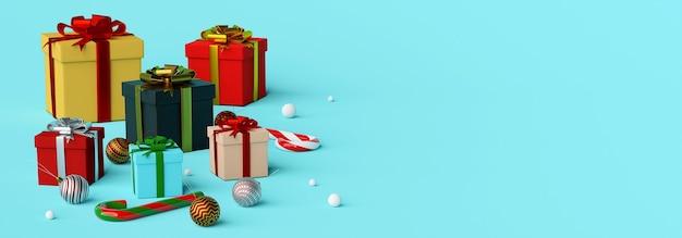 Banner hintergrund von weihnachtsgeschenken und dekoration 3d rendering