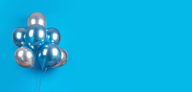Banner mit blauen und silbergrauen luftballons