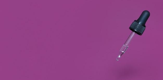 Banner mit schwimmender glaspipette mit öl oder serum. platz kopieren. minimalistisches hautpflegekonzept