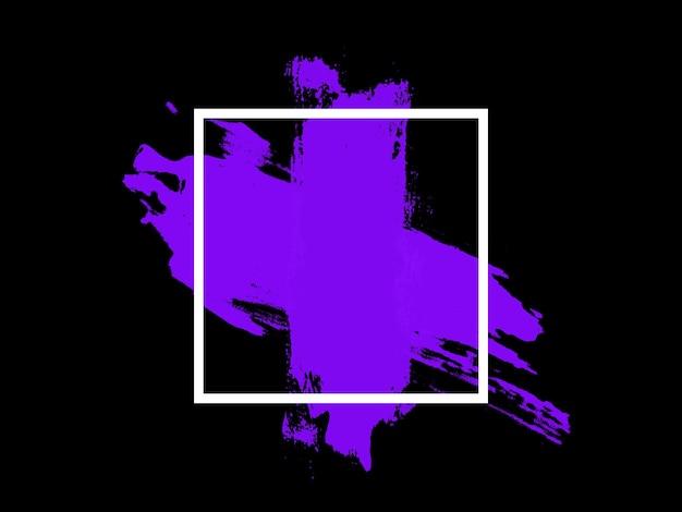 Banner weißes quadrat mit lila touch auf schwarzem hintergrund. foto in hoher qualität