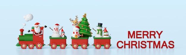 Bannerhintergrund des weihnachtsmannes und der freunde im weihnachtszug