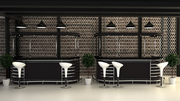 Bar loft-stil, bar-raum-innenarchitektur. 3d-rendering