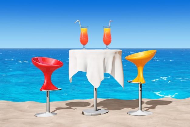 Bar moderne barhocker in der nähe von tisch mit roten tropischen cocktails auf dem sand sunny beach extreme nahaufnahme. 3d-rendering