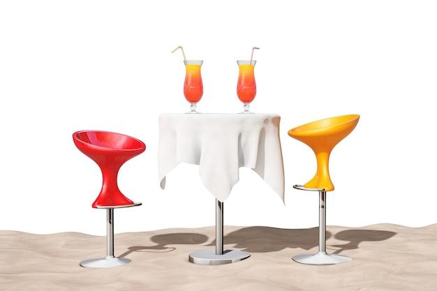 Bar moderne barhocker in der nähe von tisch mit roten tropischen cocktails auf dem sand sunny beach extreme nahaufnahme auf weißem hintergrund. 3d-rendering