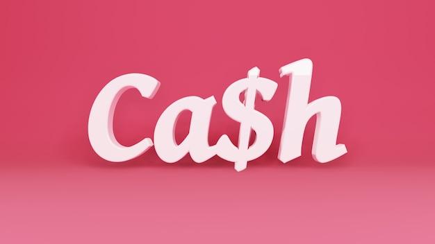 Bargeld 3d-logo auf hintergrund mit schatten