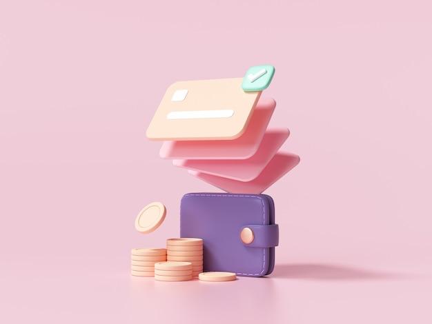 Bargeldlose gesellschaft, kreditkarte, geldbörse und münzen stapeln sich auf rosa hintergrund. geldsparendes online-zahlungskonzept. 3d-renderillustration