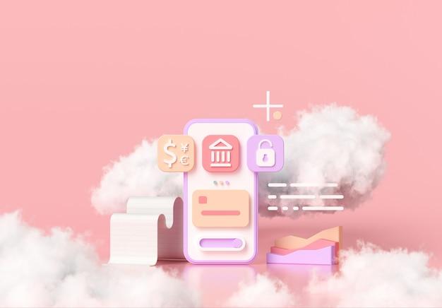 Bargeldlose gesellschaft, online-mobile-banking und sicheres zahlungskonzept