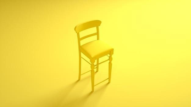 Barstuhl auf gelb. 3d-rendering.