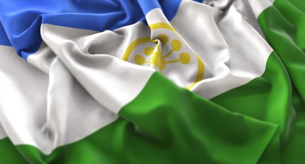 Bashkortostan flagge gekräuselt winken makro nahaufnahme schuss