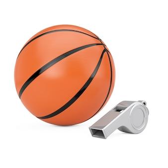 Basketball-ball mit klassischer metalltrainer-pfeife auf einem weißen hintergrund. 3d-rendering