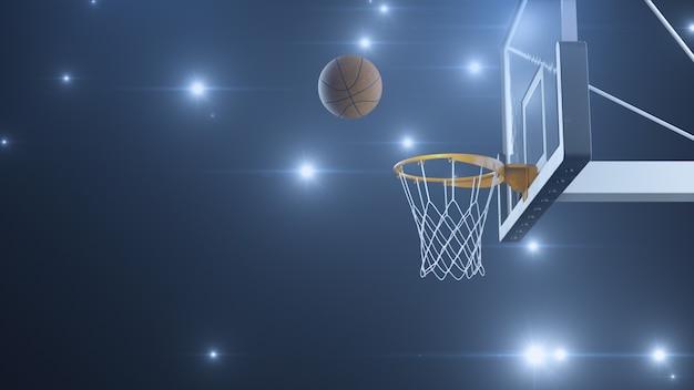 Basketball traf den korb in zeitlupe mit den blitzen von kameras