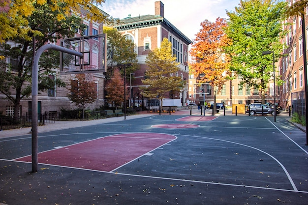 Basketballplatz in north end, boston, usa