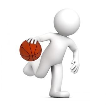 Basketballspieler isoliert auf weißem hintergrund