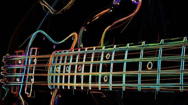 Bassgitarre. abstrakte farbe neonmalerei. Premium Fotos