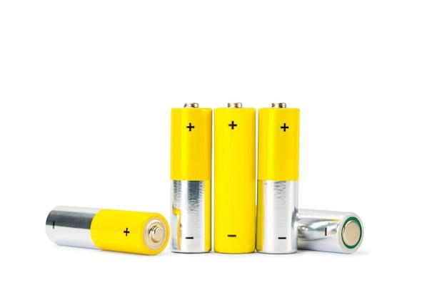 Batterie nahaufnahme auf weißem hintergrund