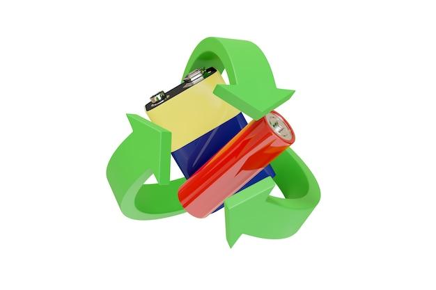 Batterien, die vom recycling-symbol umgeben sind.