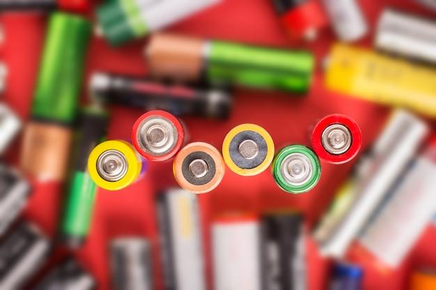 Batterien unterschiedlicher größe und firmensymbol der macht. umweltproblem
