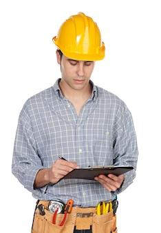 Bauarbeiter a über weißem hintergrund