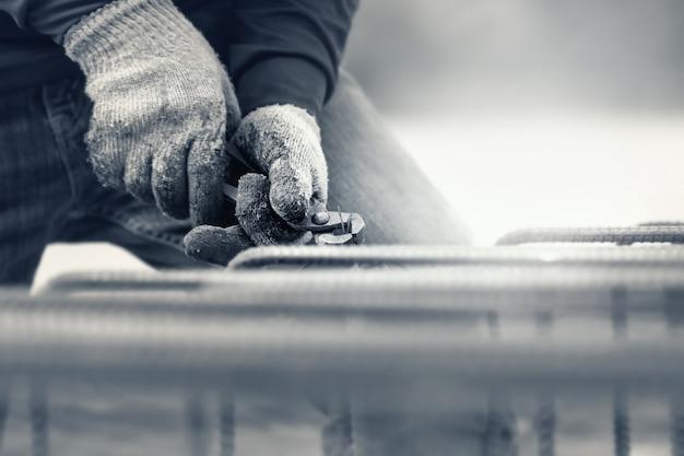 Bauarbeiter auf der baustelle.