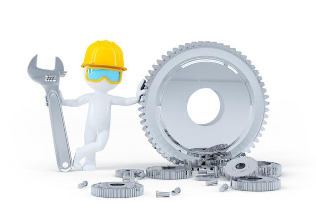 Bauarbeiter mit schraubenschlüssel und zahnrädern. isoliert auf weißem hintergrund