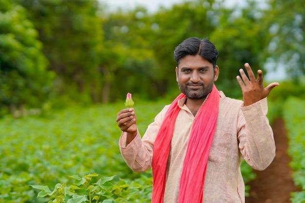 Bauer, der baumwollblume in der hand auf dem landwirtschaftsfeld hält.
