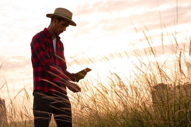 Bauer mit hut und tablet, der die plantage bei sonnenuntergang analysiert.
