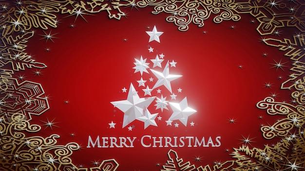 Baum der frohen weihnachten 3d gebildet mit silbernen sternen und verzierungen