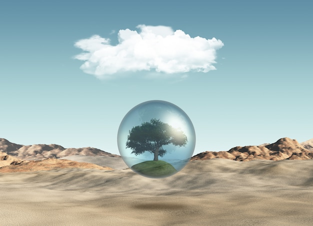Baum in der kugel gegen eine wüstenszene