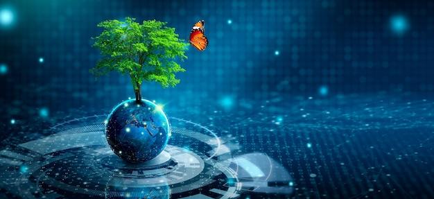 Baum wächst auf der erde mit abstraktem blauem hintergrund. umwelttechnologie, tag der erde, energieeinsparung, umweltfreundlich, csr und it-ethik-konzept. von der nasa eingerichtete elemente.