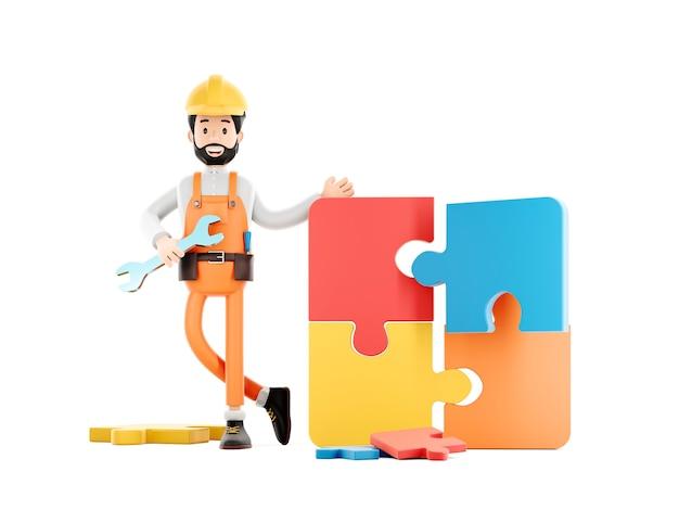 Baumeister-cartoon-figur, lustiger arbeiter oder ingenieur mit puzzle