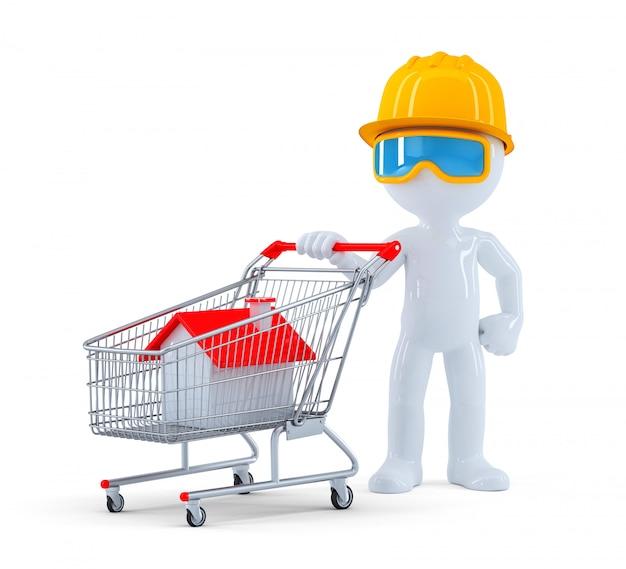 Baumeister mit einkaufswagen. immobilien einkaufen. isoliert. enthält einen beschneidungspfad