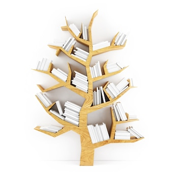 Baumförmiges regal mit weißen büchern