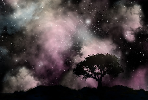 Baumschattenbild gegen einen starfield-himmel