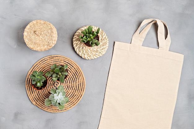 Baumwoll-einkaufstasche ohne abfall, nachhaltigkeit, umweltfreundlicher lebensstil