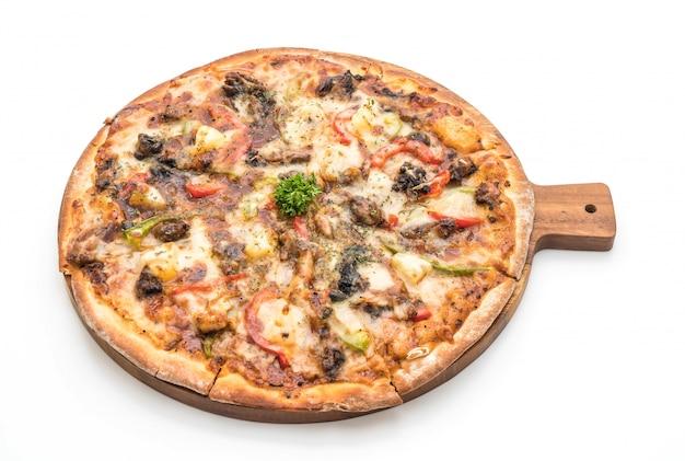 Bbq schweinefleisch pizza