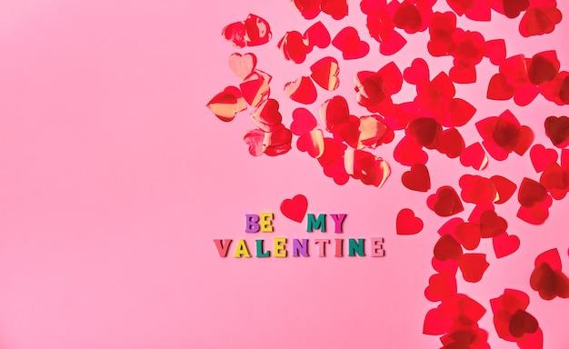 Be my valentine schriftzug inschrift für valentinstag grußkarte