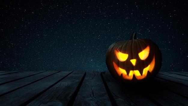 Beängstigend leuchtender halloween-kürbis auf einem alten holztisch mit freiem platz für design und text in der nacht. fröhliches halloween-konzept.