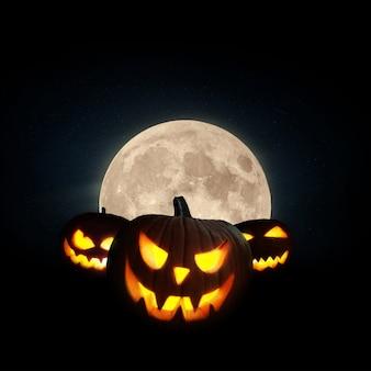 Beängstigend leuchtender kürbis mit vollmond auf schwarzem hintergrund. halloween-tapete in der nacht